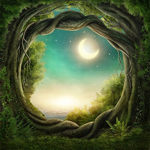Leowefowa 5X5FT Fairytale Backdrop Dreamy Tropical Jungle Forest Backdrops for Photography Moon Night Vinyl Photo Background Kids Girls Room Wallpaper Studio Props