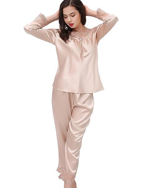 FAPIR Pijama Camisión Ropa para Dormir de Manga Larga Satén de Seda Beige Verano para Mujer