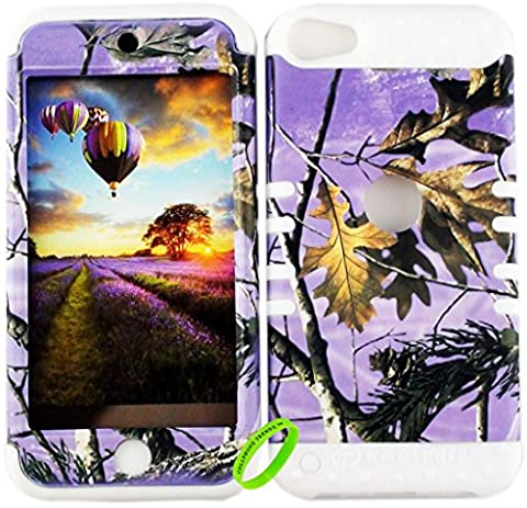 Cellphone Trendz Dual Layer Soft Hard Hybrid Heavy Duty Protective Cover for Apple iPod Touch 5 & 6th Generation -Purple Camo Real Hunter Series Mossy Oak Branch Leaves Tree Design on White (Real Tree Camo Case For Ipod 5)