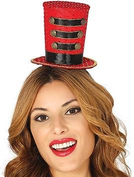 Elegante Sombrero de Copa directora de Circo / Rojo-Negro / Mini ...