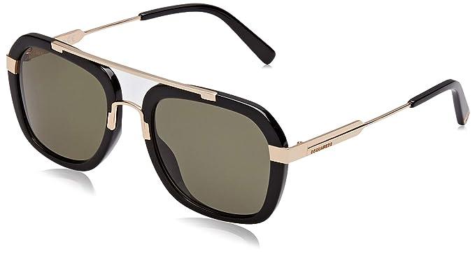 DSQUARED2 Jordin Gafas de sol, Negro (Shiny Black/Green ...