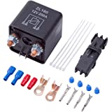 FOSHIO Auto Start Relay Heavy Duty Split Charge Relay Switch 12V 200A SPST 4pin Relay with Terminals and Wire Connection Lug