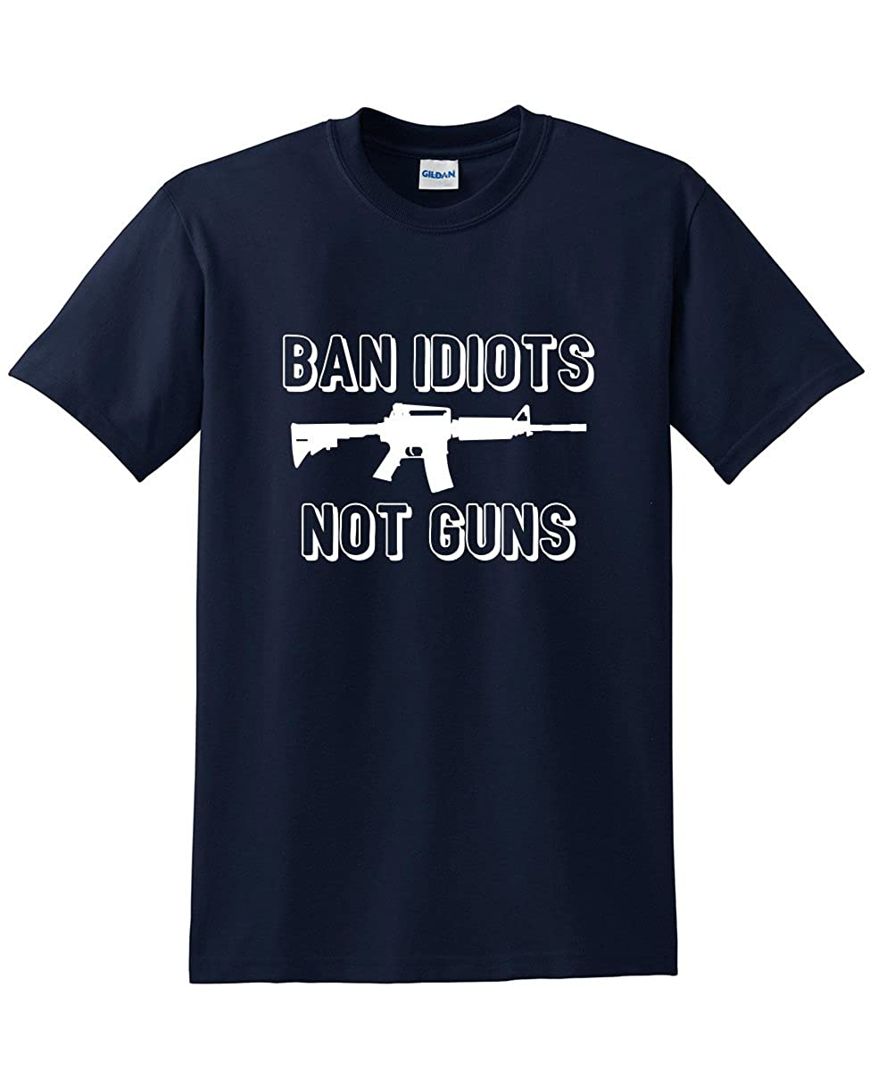 6800d068 Amazon.com: Ban Idiots Not Guns 2nd Amendment Sarcastic Humor Novelty  Graphic Funny T Shirt: Clothing