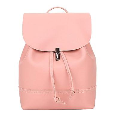 80d02092d9 Amazon.com  Fashion Women backpack Vintage Pure Color Leather School Bag  Backpack Satchel backpack women Shoulder Bag