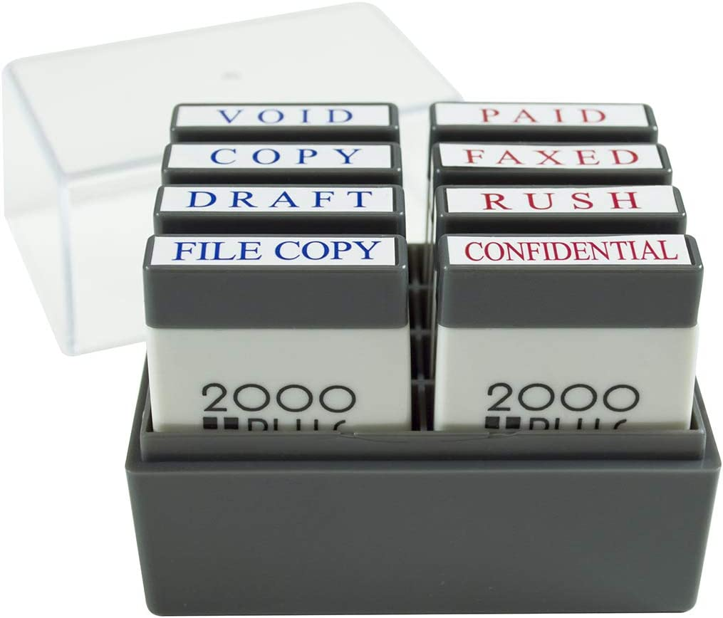 "2000 PLUS Mini Stamp Set with Storage Tray, 8 Messages, 1"" x 1/4"" Impression, Red and Blue (030219)"