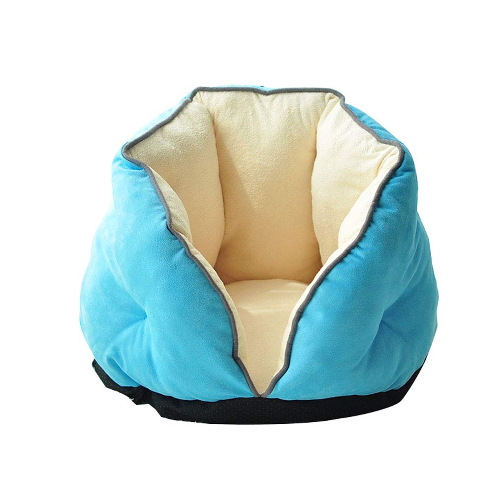 bluee S 3949cm bluee S 3949cm LITING Cat Litter Cat Sleeping Bag Plus Velvet Thick Warm Small Dog Puppies Pet Sofa Cat House Cat Bed Winter Teddy Kennel (color   bluee, Size   S 39  49cm)