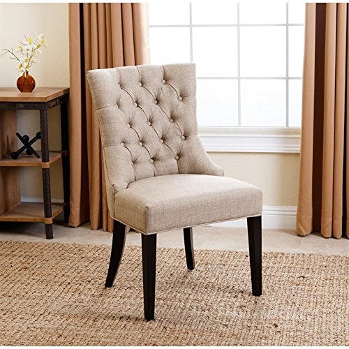 abbyson living daphne upholstered dining chair in beige - Dining Chairs In Living Room