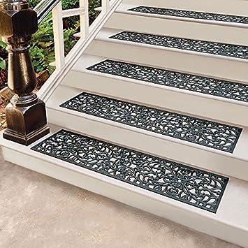 Set Of 4 48u0026quot;x10u0026quot; Outdoor Black Rubber Stair Treads Scroll Design  ...