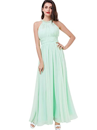 Tanpell Women's A-Line Halter Pearls Backless Long Prom Bridesmaid Dress