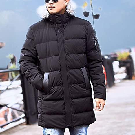 Mens Big /&Tall Tommy Hooded Windproof Down Parka Coat Winter Thicken Warmer Faux Fur Hood Puffer Jacket