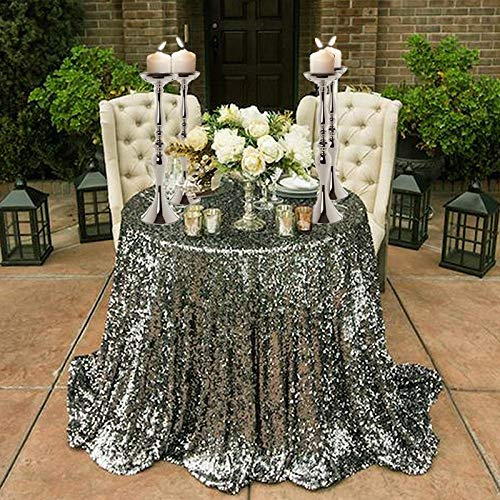 Efavormart Set of 2 19'' Tall Silver Metallic Floral Vase Stand Wedding Centerpiece Riser by Efavormart.com (Image #4)