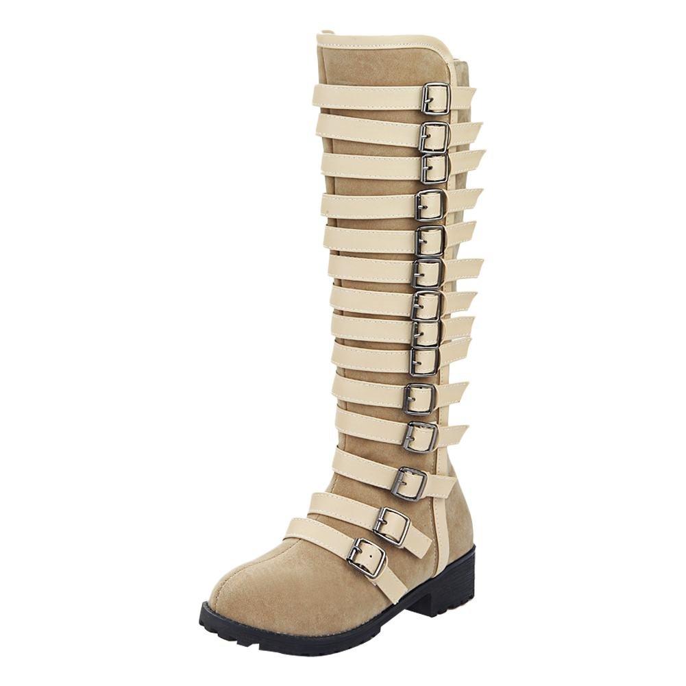 Carolbar Women'S Multi Buckle Zip Knee High Low Heel Riding Tall Boots B01MFER4ZL 5.5 B(M) US|Beige