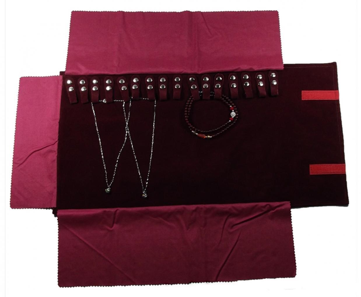 WODISON Gioielli da viaggio in velluto si arrotola in borsa per la collana Claret RoyBella