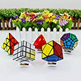 GoodPlay Newest ShengShou Specific Speed Cube Puzzle Set-Pack of 5 (Include mirror, Megaminx Dodecahedron, Mastermorphix, Pyraminx, Skewb)+five customized cube tripods