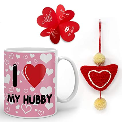 Buy Indigifts Valentine Day Gift For Husband I Love My Hubby Quote Coffee Mug 330 Ml 1 Heart Hanging Anniversary Gift For Husband Gifts For Husband Birthday Husband Gifts For