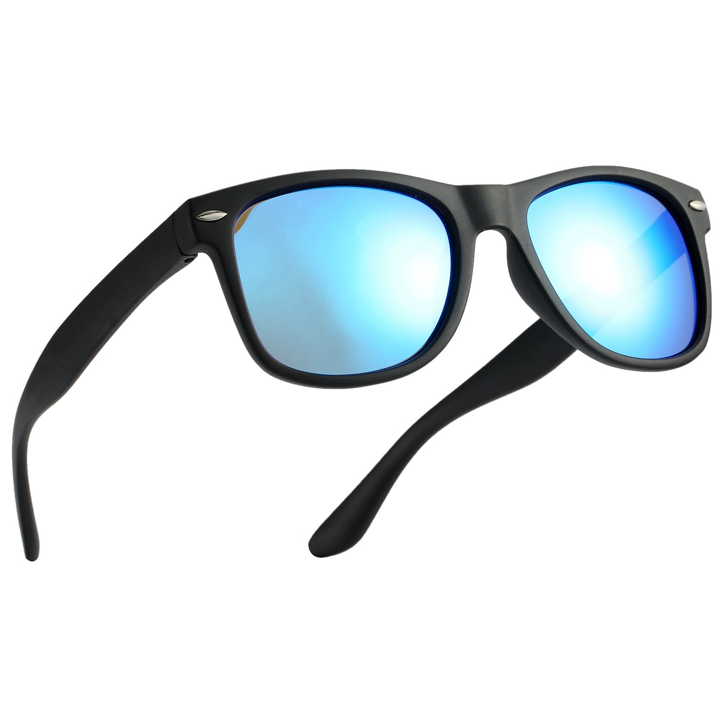 Pro Acme TPEE Rubber Flexible Polarized Wayfarer Sunglasses (Matte Black Frame/Blue Mirrored Lens/54) by Pro Acme