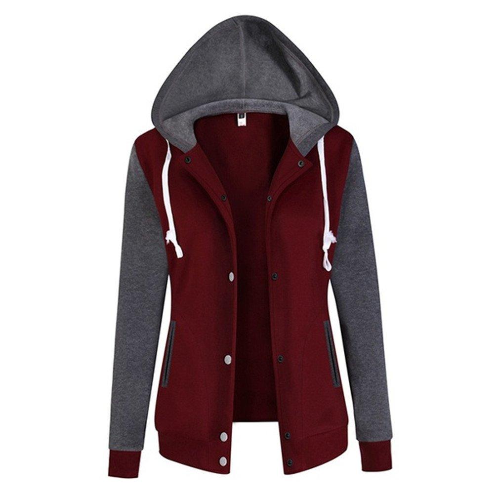 Meolin Women Long Sleeve Baseball Jackets Slim Fit Bomber Club Varsity Jacket,red,M