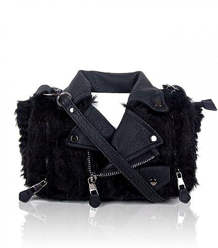 f3f60f052b5e LeahWard Novelty Swan Jacket Shaped Handbags Shoulder Tote Bags For Women  Wedding Holiday (BLACK FUR