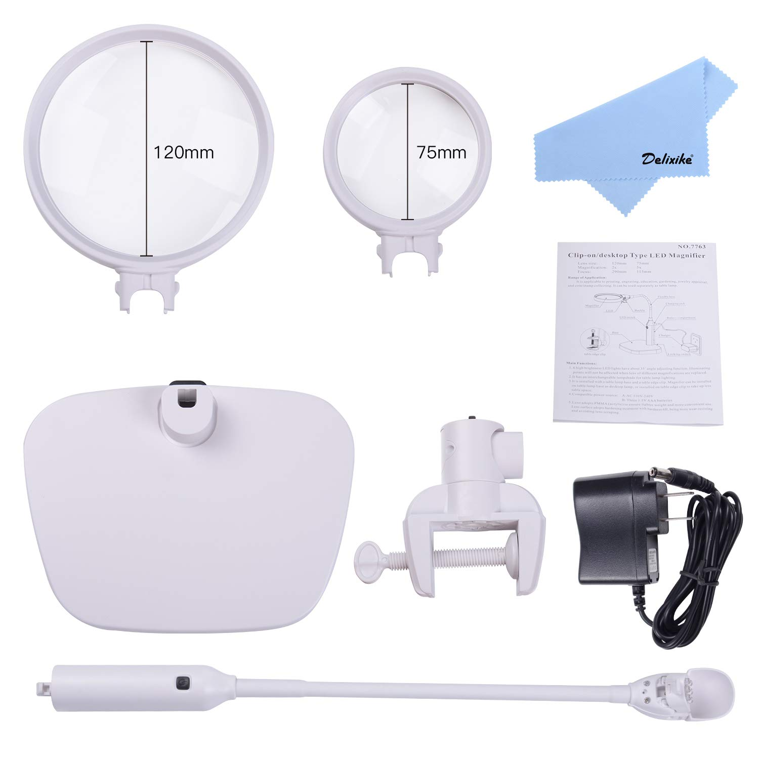 Tm Home 2 In 1 Clamp On Table Amp Desk Magnifying Lamp 2x