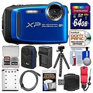 Fujifilm FinePix XP120 Shock & Waterproof Wi-Fi Digital Camera (Blue) with 64GB Card + Case + Battery + Charger + Tripod + Strap + Kit