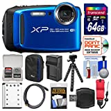 Fujifilm FinePix XP120 Shock & Waterproof Wi-Fi Digital Camera (Blue) with 64GB Card + Case + Battery + Charger + Tripod + Strap + Kit