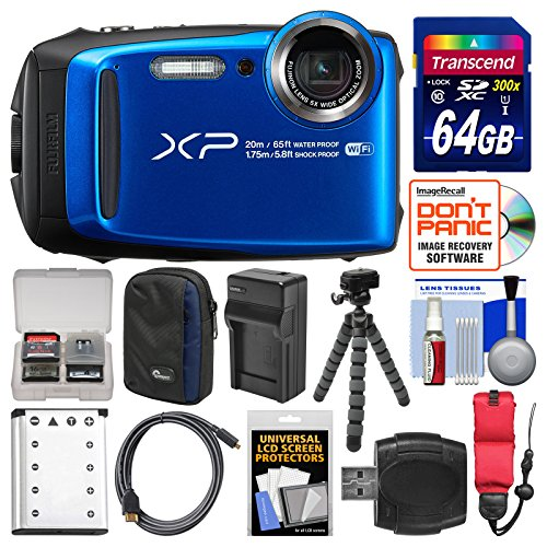 Fujifilm FinePix XP120 Shock & Waterproof Wi-Fi Digital Camera (Blue) with 64GB Card + Case + Battery + Charger + Tripod + Strap + Kit by Fujifilm