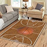 Cheap InterestPrint Sports Basketball Court Playtime Area Rug Cover 7′ x 5′ Feet, Childrens Wood Print Throw Rayon Fiber Carpet Rugs Cover for Home Living Dining Room Decoration