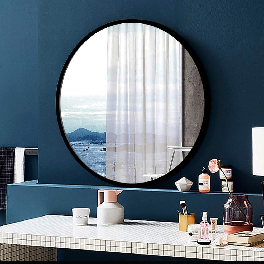 Black 8080CM XIUXIU Mirror Simple Home Aluminum Wall Hanging Vanity Mirror Nordic Round Background Decorative Mirror (color   pink gold, Size   40  40 cm)
