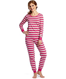 f9359dc65fc Leveret Women s Pajamas Fitted Striped 2 Piece Pjs Set 100% Cotton Sleep  Pants Sleepwear (