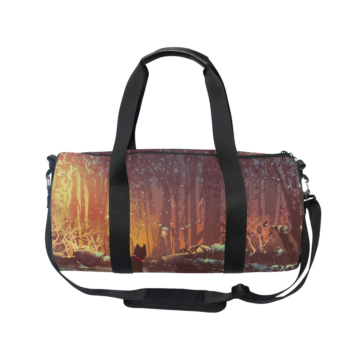 WIHVE Gym Duffel Bag Night Lost Cat In The Forest Sports Lightweight Canvas Travel Luggage Bag