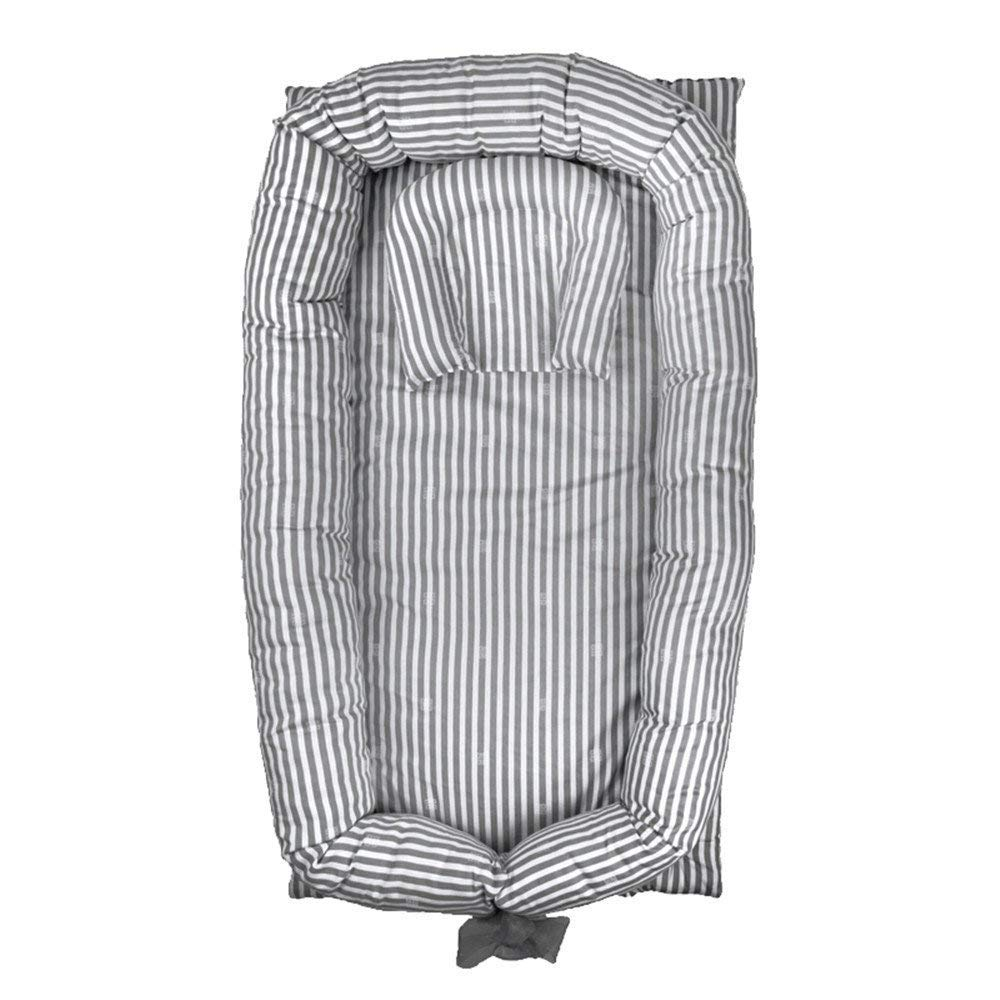Brandream Portable Crib for Bedroom/Travel - Grey Striped Newborn Baby Bassinet/Lounger/Nest/Cot Bed, 100% Soft Breathable Cotton by Brandream