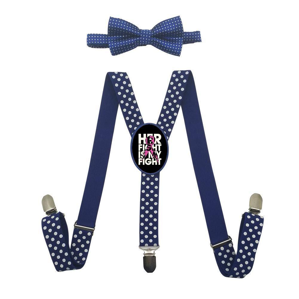 Eyuio Her fight is my fight cancer Custom Unisex Suspender With Bow Tie Set Adjustable Elastic Y-Back Necktie Child Bowtie