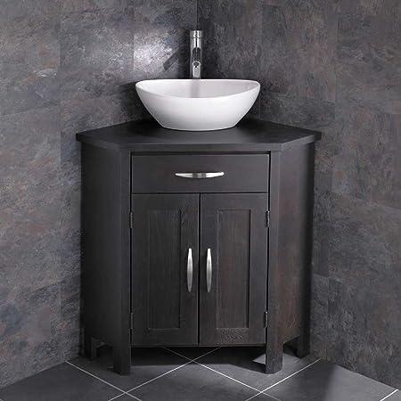 Clickbasin Ohio Wenge Oak Two Door Corner Washbasin Cabinet Messina Sink