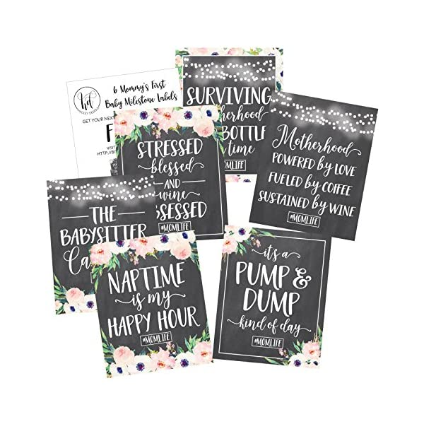 6 Chalk Mommy's First Milestone Stickers or Wine Labels, Great Baby Shower Gift Ideas For Mom To Be, Funny Mom's First Moments Having New Baby Girl or Boy, ...