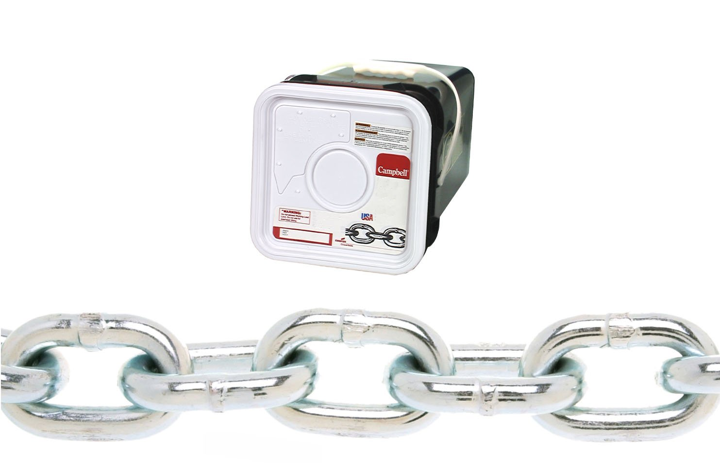 Campbell 0143626 System 3 Grade 30 Low Carbon Steel Proof Coil Chain in Square Pail, Zinc Plated, 3/8'' Trade, 0.37'' Diameter, 45' Length, 2650 lbs Load Capacity