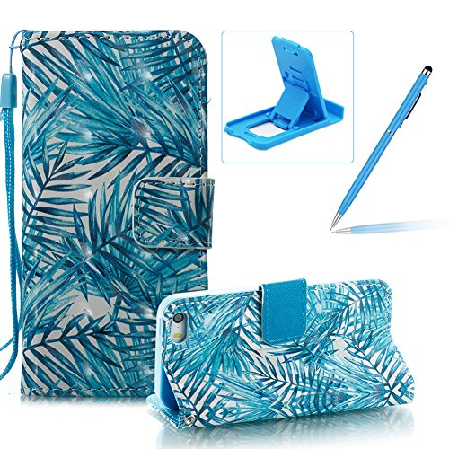 Strap Leather Case for iPhone SE,Wallet Stand Flip Case for iPhone 5S,Herzzer Bookstyle Stylish Pretty 3D Banana Leaves Pattern Magnetic PU Leather with Soft Silicone Inner Back Case for iPhone SE/iPh Color #4