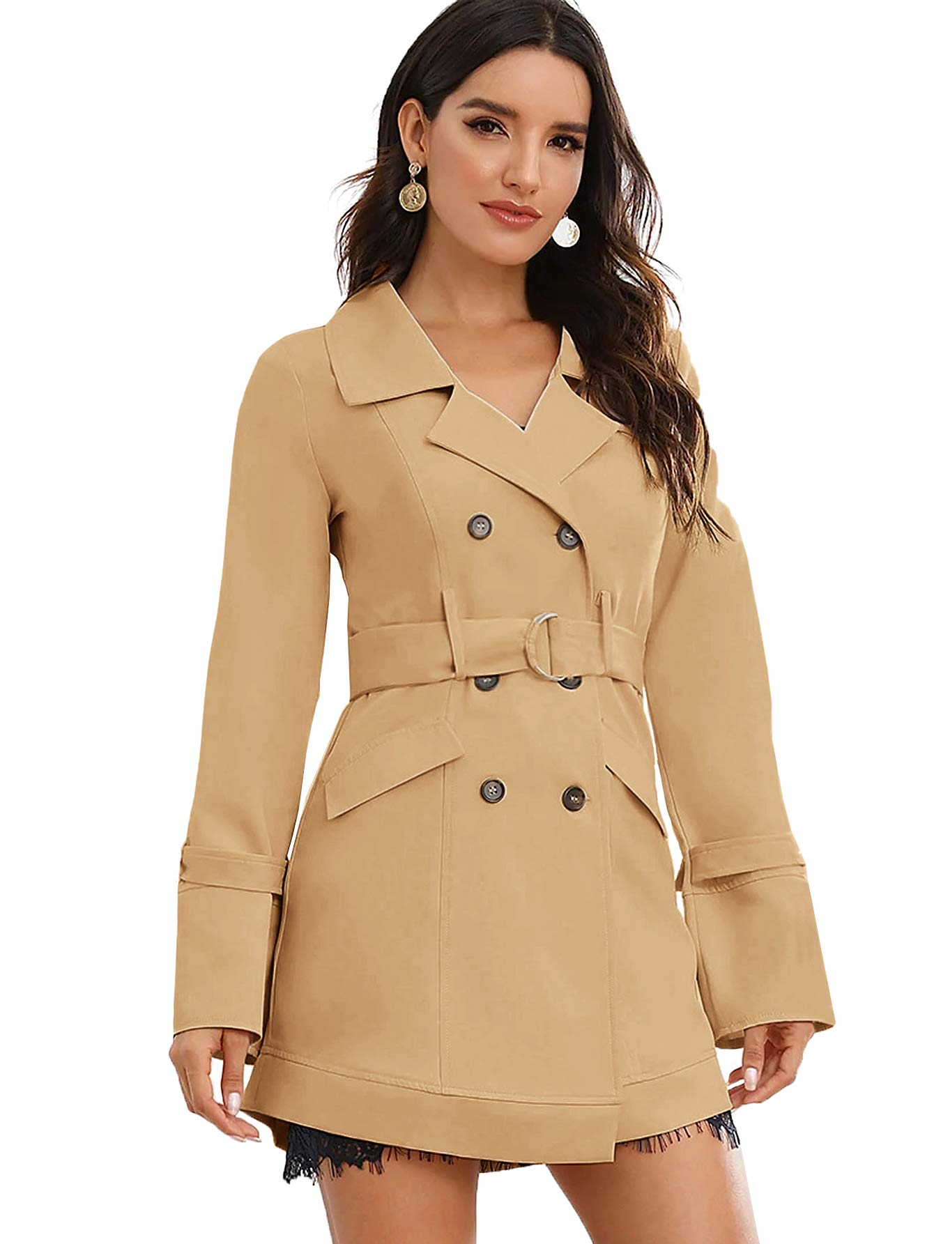 Milumia Women's Elegant Belted Long Sleeve Jacket Double Breasted Trench Coat Outwear