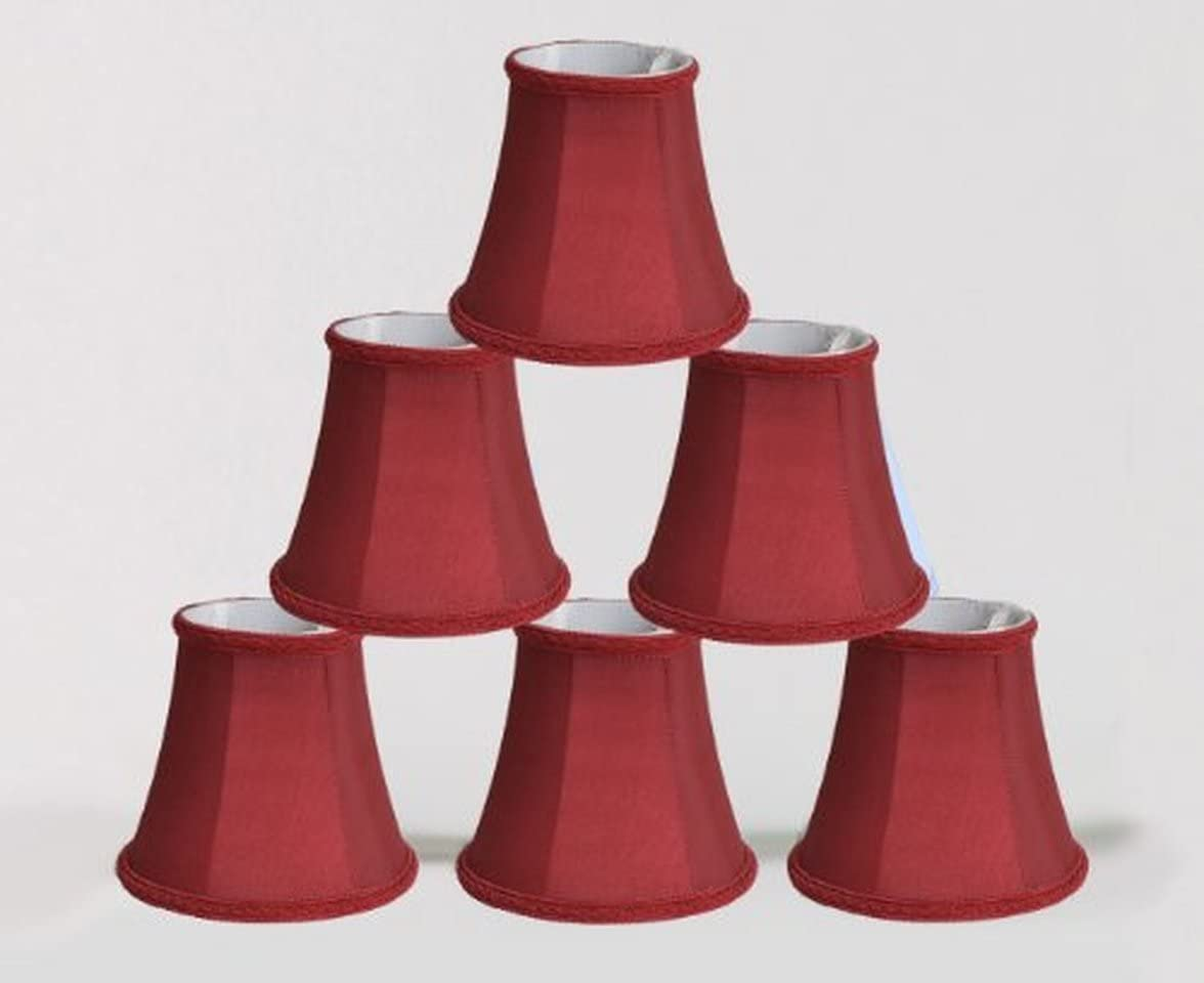 Urbanest Set of 6 Chandelier Mini Lamp Shade 5-inch, Bell, Clip On, Burgundy