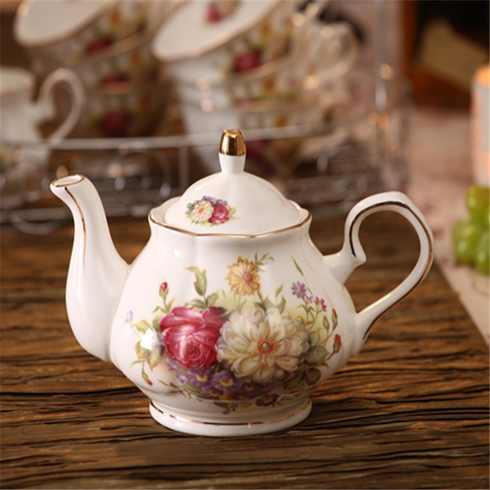 15 Piece European Ceramic Service Coffee Set Wiht Metal Holder,Red and White Rose Printing Vintage Tea Set,For Household Ufingo