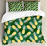 Ambesonne Hawaii King Size Duvet Cover Set by, Monochrome Palm Leaves with Exotic Pineapples Blooming Foliage, Decorative 3 Piece Bedding Set with 2 Pillow Shams, Yellow Fern Green Pale Green