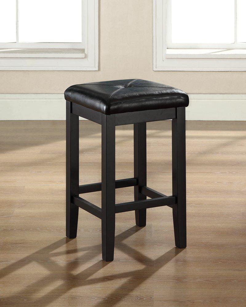 Crosley Furniture Upholstered Square Seat 24-inch Bar Stool - Black (Set of 2)