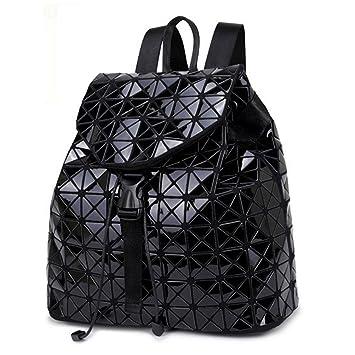 d3d85cfc6a568 Honeymall Geometrisch Lingge Laser Quadratische Form Sequins Rucksack  Daypack Backpacks Freizeitrucksack Schulrucksack Schultasche(Schwarz)