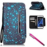 Galaxy S7 edge Case, Firefish [Card Slots] [Kickstand] Flip Folio Wallet Case Synthetic Leather Shell Scratch Resistant Protective Cover for Samsung Galaxy S7 edge-Starry