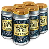 WellBeing Brewing Non-Alcoholic Craft Beer - 68 Calories - Zero Grams of Sugar – High in Polyphenols (Anti-Oxidants/Anti-Inflammatories) - Heavenly Body Golden Wheat - 12 Fl. oz. Cans (6-Pack)
