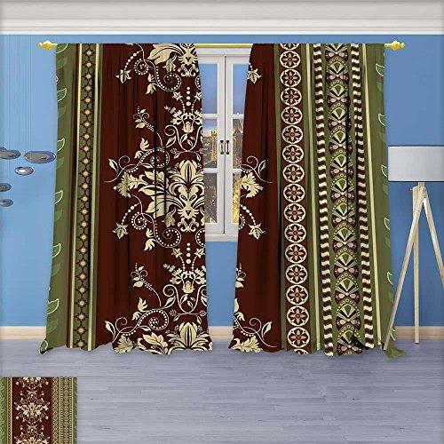 Wallpaper Flower Damask (SCOCICI1588 Flower Design Foil Printed Grommet Thermal Insulated Window Panels Striped seamless pattern Brown floral wallpaper Damask background For Kidsroom,108
