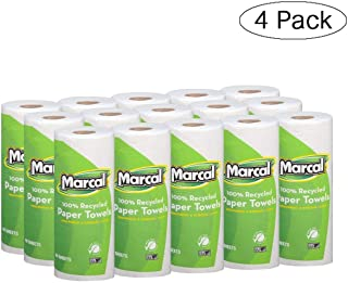 product image for Marcal Paper Towels 100% Recycled 2-Ply, 60 Sheets Per Roll - Case of 15 Individually Wrapped Green Seal Certified 06709 (White, Fоur Расk)
