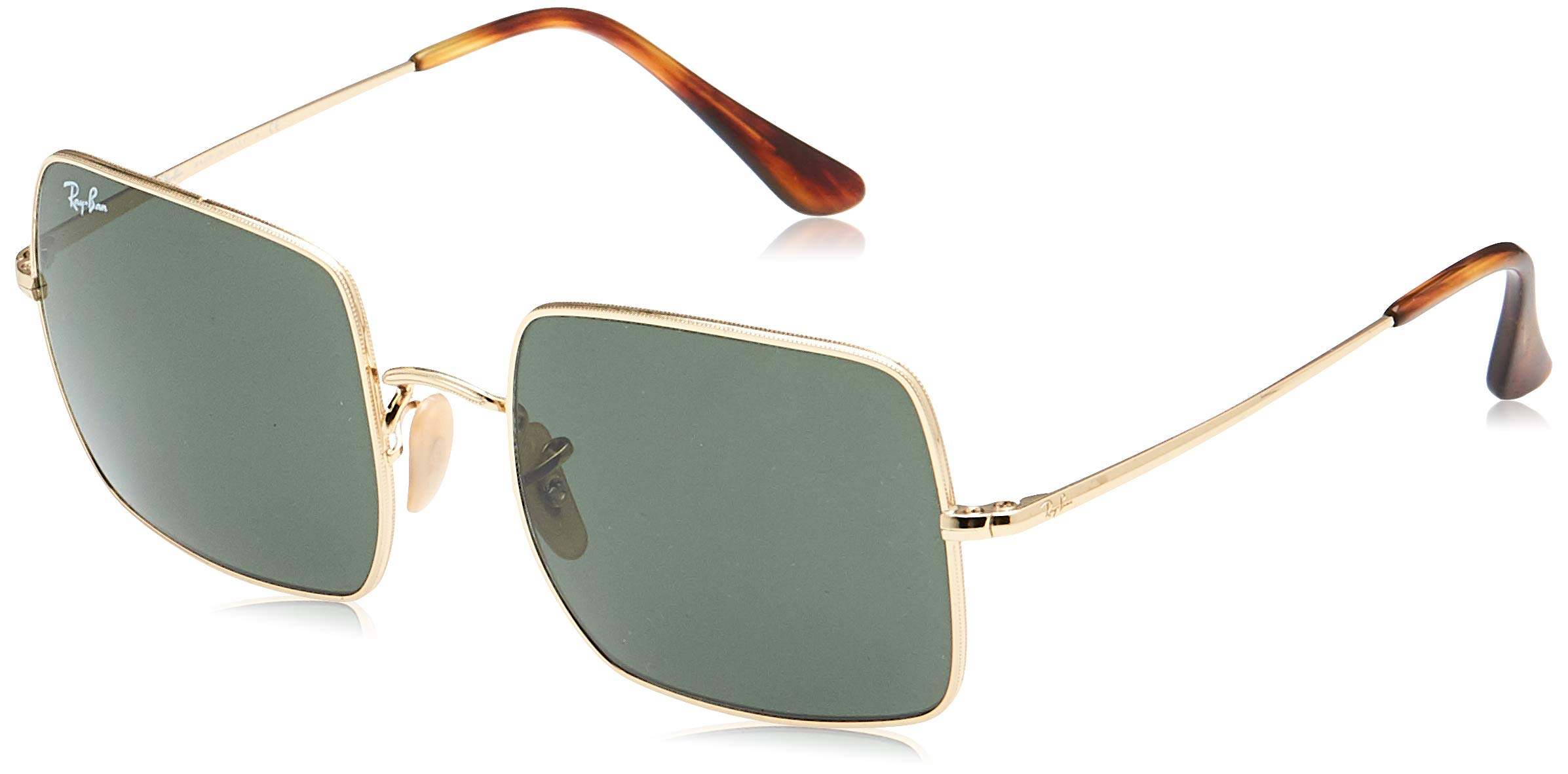 RAY-BAN RB1971 Square Classic Metal Sunglasses, Gold/Green, 54 mm by RAY-BAN