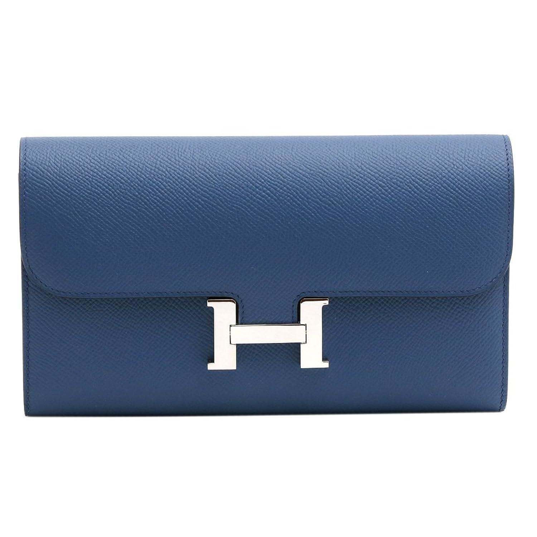 [エルメス]HERMES 長財布 2つ折り コンスタンス エプソン シルバー金具 A刻印 071006CK CONSTANCE EPSOM BLUE THALASSA B07D7P9C96