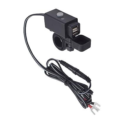 YGL Impermeable Cargador USB de Motocicleta con Interruptor de Encendido Puertos Duales de 5V