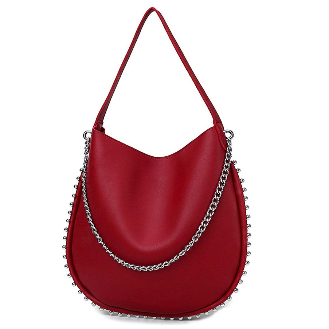 Sac A Main Mujer, mujeres Vintage remaches piel Pur color ...